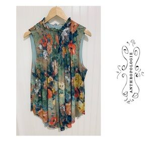 Anthropologie Deletta watercolor Floral Top XL